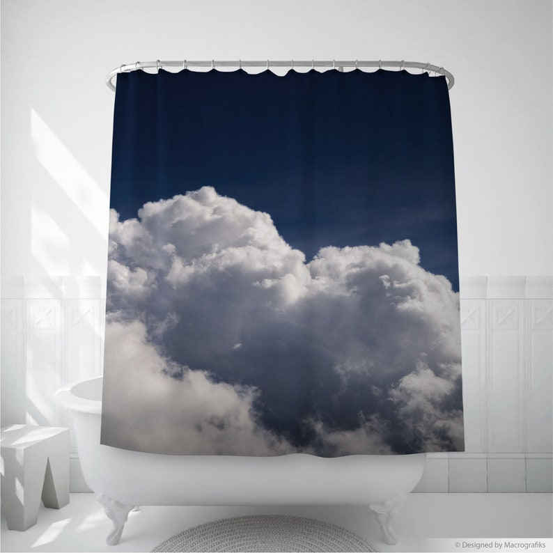 Cloudscape shower curtain bathroom decor with an original image 0
