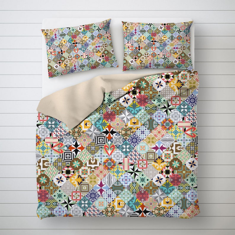 Mosaic Tiles Queen Duvet Cover Bed Decor with a Modernist image 0