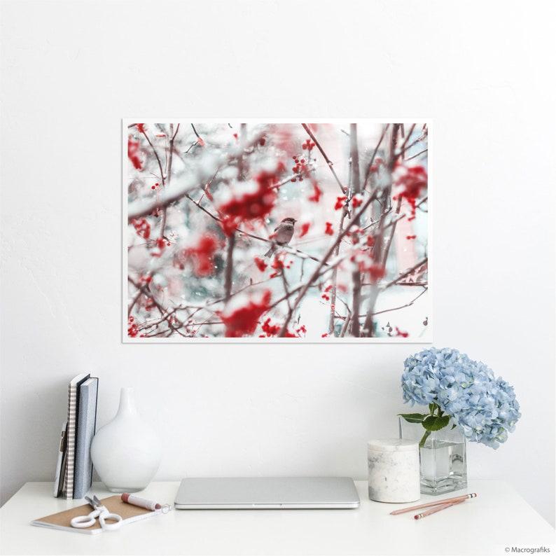 Bird wall art cotton print Animal lover home decor Quality A2   23.4 x 16.5 inches