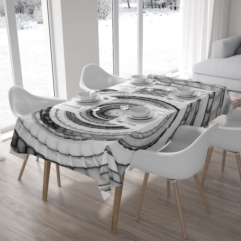 Sundial Seashell tablecloth Black and white kitchen image 0