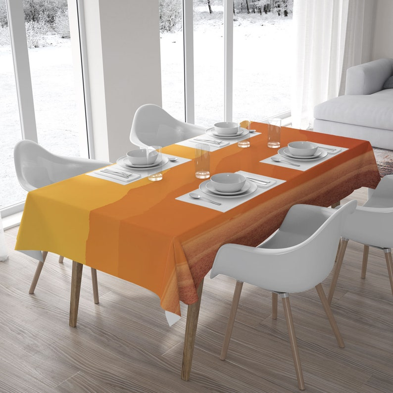 Yellow sunset fabric tablecloth Landscape photograph printed image 0
