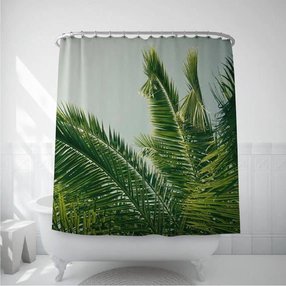 Palm Leaf Art Shower Curtain Liner Home Curtains