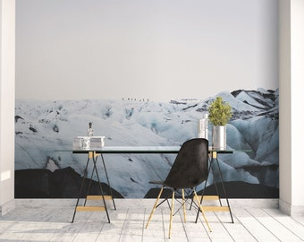 Blue mountain wall mural, Iceland mural, Office decor, Large wall art, Self Adhesive wallpaper, Iceland photography, Scandinavian art. SV053