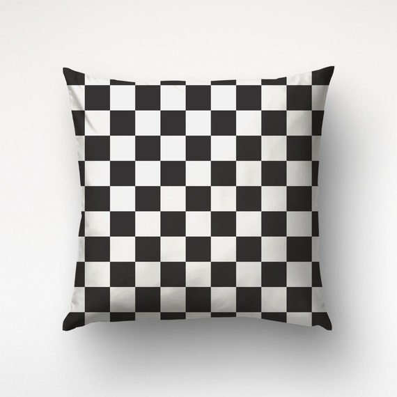 Checkered Pillow Black And White Nordic Decor Geometric Etsy