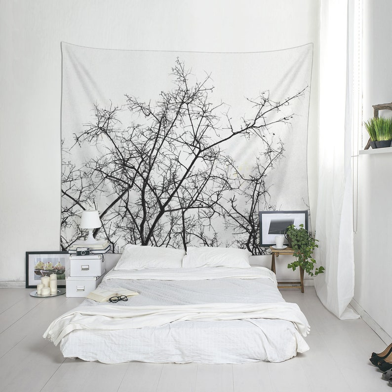 Tree Branches Wall Tapestry Black And White Dorm Decoration Etsy