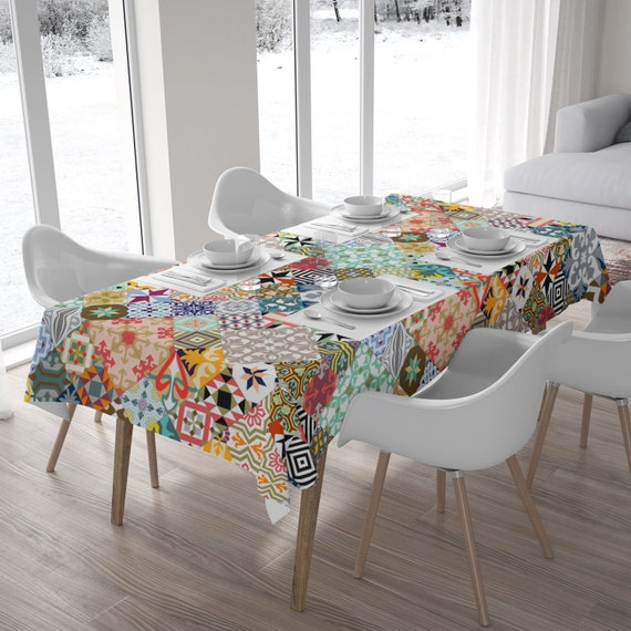 Mosaic Tablecloth Tile Designs Polyester Fabric Home Decor Etsy