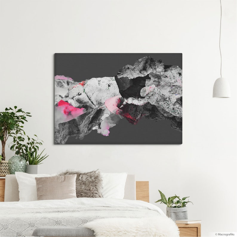 Abstract art canvas print Pink and gray collage print wall image 0