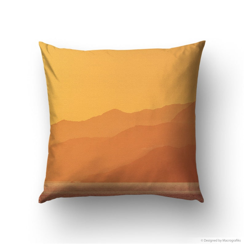 Sunset landscape with mountains printed on a pillow cover for image 0