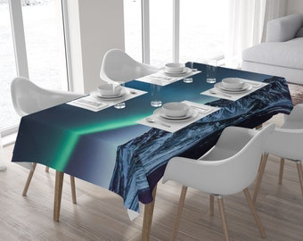 Aurora borealis kitchen table cloth, Iceland tablecloth, Kitchen decor, Rectangle tablecloth, Large fabric printed, Home decoration. SV086