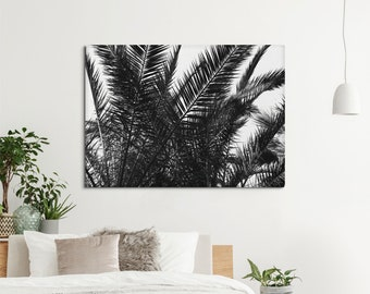 Beach house canvas print, Palm leaves decor for wall art, college dorm decor, Tropical print in black and white, light canvas. MG031A