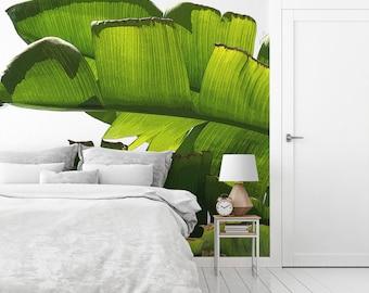 Banana leaf mural, Large wallpaper, Tropical wallpaper, Peel and stick, Bedroom decor, Wall decal, Self Adhesive print, Green. MG047