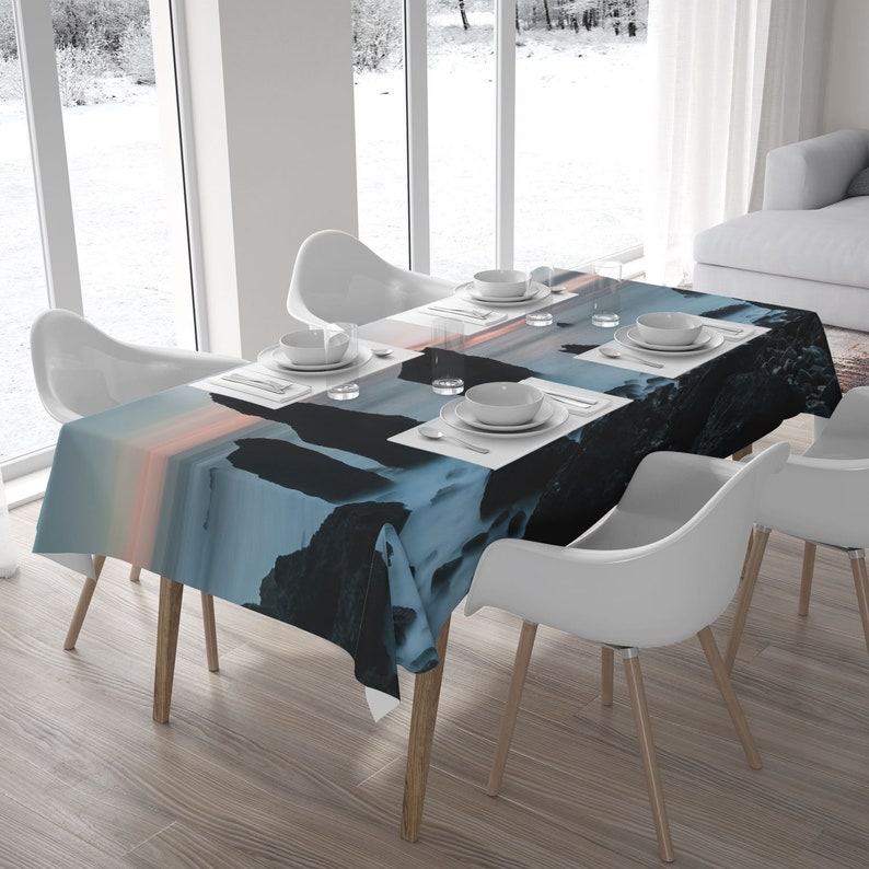 Rocky coast fabric tablecloth with a landscape photo of a image 0