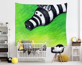 Animal Lover Gift, Nursery Tapestry, Zebra Wall Decor, Illustration Art, Green Tapestry. MS019