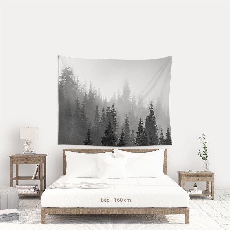 Woodland wall hanging fabric Misty forest black and white 180 x 143 cm | 70x56 inches