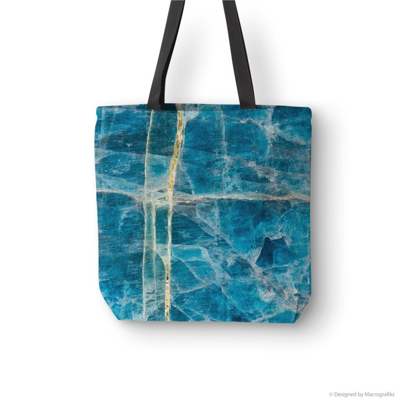 Mineral art tote bag Blue Apatite mineral photography printed image 0