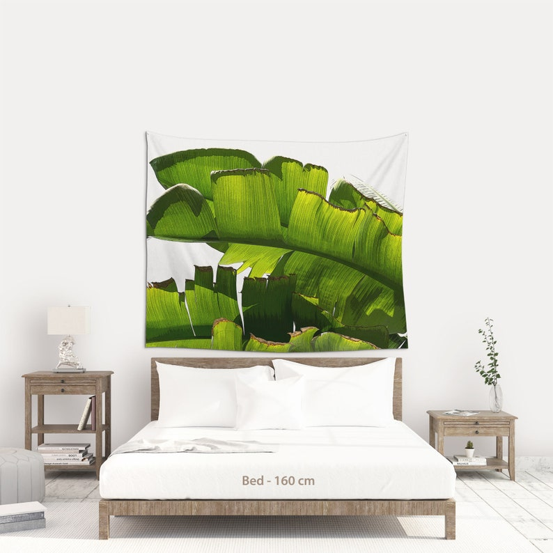 Fabric wall hanging of Banana leaf for a tropical decoration 174 x 145 cm | 68x57 inches