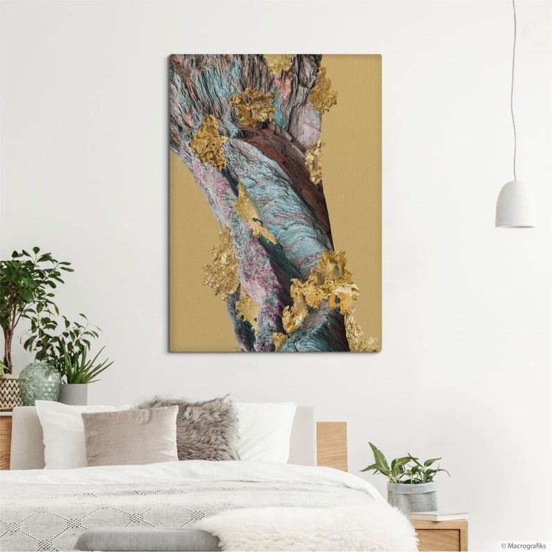 Golden decor canvas print Elegant art with an abstract image image 0