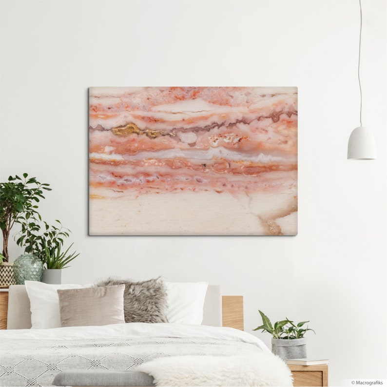 Pink Opal canvas print Modern wall decoration with a mineral image 0