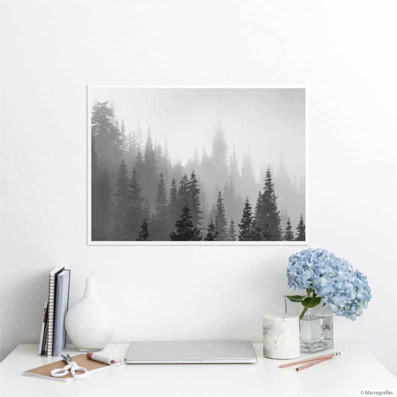 Pine trees wall print on archival paper Black and white wall A2 | 23.4 x 16.5 inches