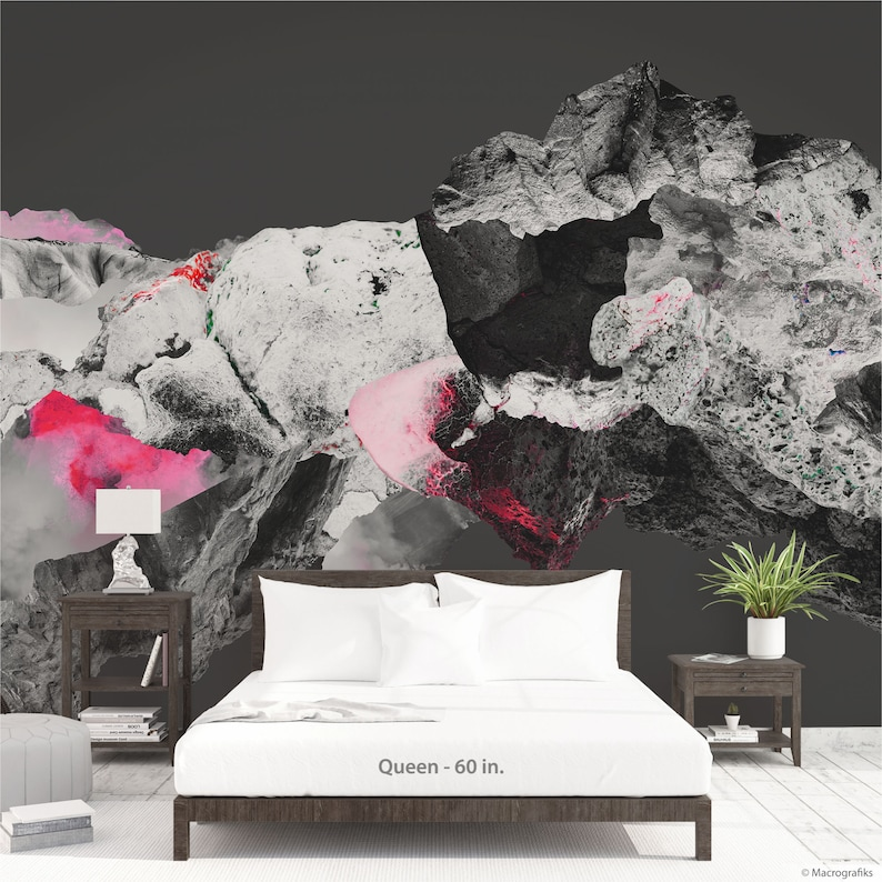 Abstract mural Peel and Stick Collage art in pink and grays image 0
