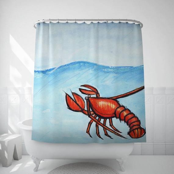 Beach House Decor Bathroom Curtain Lobster Art Kids Bath