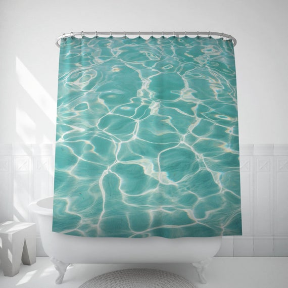 swimming pool shower curtain abstract shower art home gifts etsy