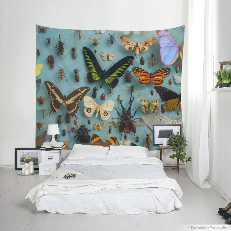Butterfly tapestry Bugs wall hanging for home decor or photo image 0