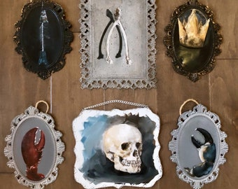 Oil Painting, Metal Plaque, Art, Wall Art, Skull, Wishbone, Gothic, Victorian, Cameo, Abstract Art, Collage wall, Lace, Lobster, Crab, Fish