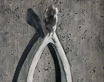 Fine Art Giclee Print, wishbone, bone, print, grayscale, oil painting, realism, Victorian, gothic, skull, prints, art, artwork
