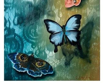 Fine Art Giclee Print, Butterflies, Butterfly, Blue, Damask, Wallpaper, Home Decor, Art Print, Moth, Bug, Floral, Giclee, Pink, Monarch