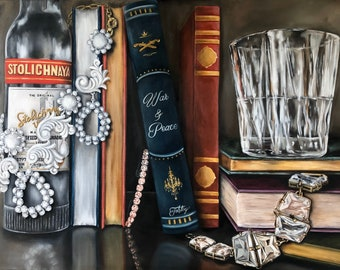 Booze & Books Oil Painting, Vodka, Bar, Book, Library, Man cave, She Shed, Library, literature, liquor, Booze, Art, Painting, Stoli, Tolstoy