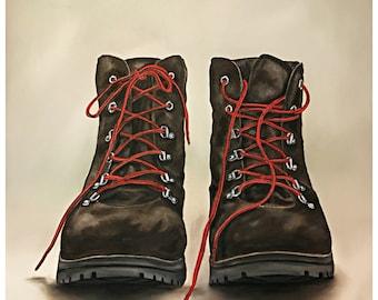 Fine Art Giclee Print, Hiking Boots, Boots, Boot, Shoes, Hiking, Art, Outdoors, Nature, Print, Art Print, Mountain, Hiker, Man Cave