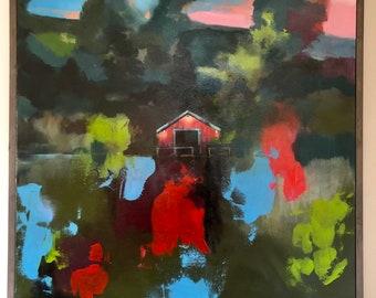 Abstract Landscape Original Art, Abstract Painting, art, abstract art, lakehouse, barn, farmhouse, nightlight, lake, colorful, landscape