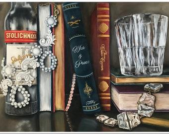 Fine Art Giclee Print, Vodka, Book, Literature, War and Peace, Tolstoy, Jewelry, art, Print, Wall art, Library, jewels, Stoli, Russia, booze