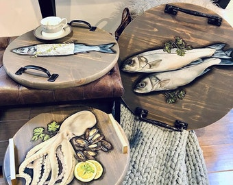 Hand Painted Seafood Serving Trays