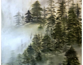 Misty Forest Oil Painting, Original Art, Forest, Trees, Woods, Mountain, Hiking, Outdoors, Camping, Nature, Art, Wall Art, Painting, Art