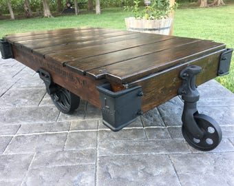 Gentil Linebery Factory Cart / Railroad Cart Coffee Table