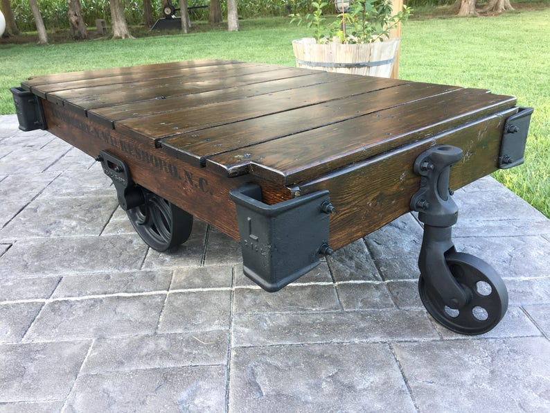 Ordinaire Linebery Factory Cart / Railroad Cart Coffee Table