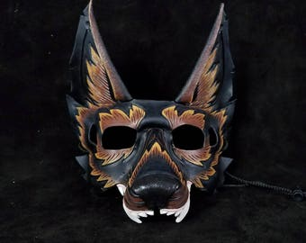Snarling Black Wolf Leather Mask Wearable With Glasses