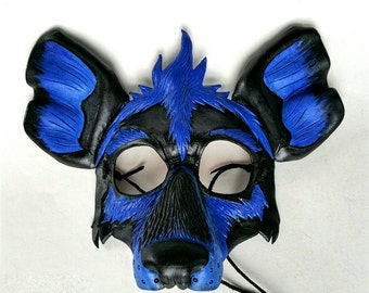 Bright Colored Leather Hyena Mask Black Light Hyena Mask Blacklight Mask