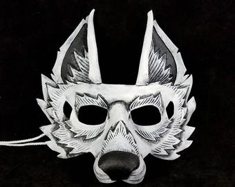Arctic Wolf White Wolf Leather Mask Wearable With Glasses