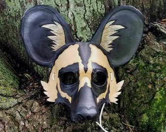 Leather African Painted Dog Mask African Wild Dog Mask Wild Spotted Dog Mask