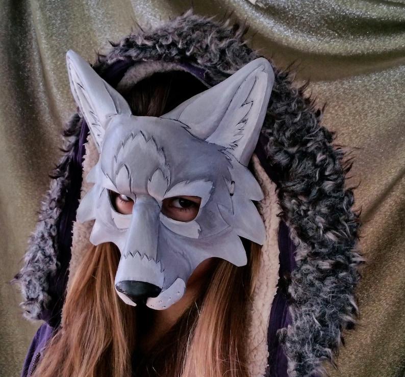 Leather Gray Wolf Mask Timber Wolf Mask Artic Wolf Mask