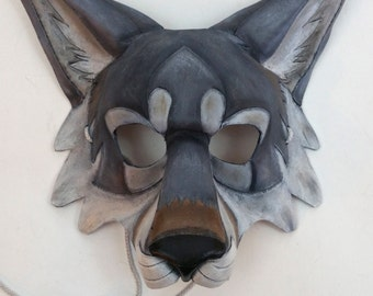 Leather Gray Wolf Mask Timber Wolf Mask Artic Wolf Mask