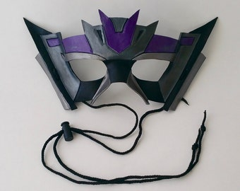 Silver and Purple Leather Transformers Decepticon Mask