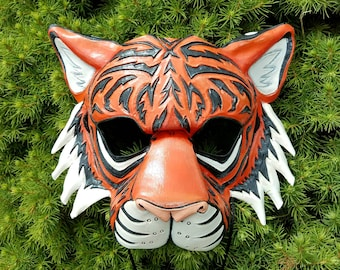 Bold Leather Tiger Mask