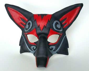 Ornate Leather Fox Mask Zoroark Style Kitsune Mask Red and Black Fox Mask