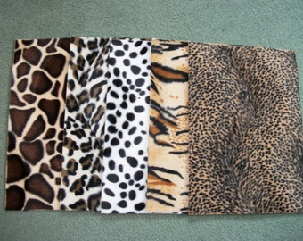 5 full Sheets of Animal print Card 200gsm,size A4, Fabric Card, Faux Fur,wild