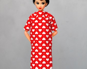 sweet white hearts dress with pockets for Momoko & other 1:6 scale dolls