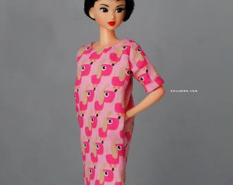 cute puppy dress with pockets for Momoko & other 1:6 scale dolls